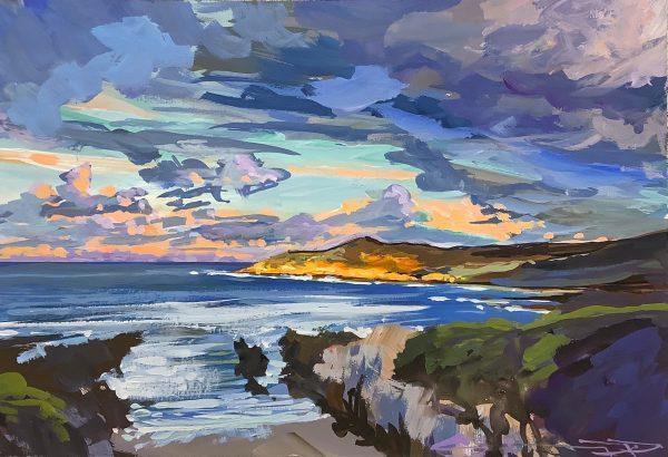 New Years glow sunrise on orte Point Woolacombe, by Devon landscape artist Steve PP.