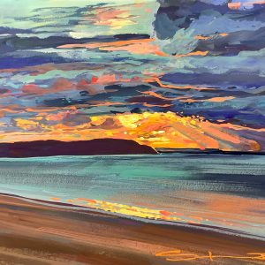 Uplifting colourful sunset gouache painting by Woolacombe landscape artist Steve PP.