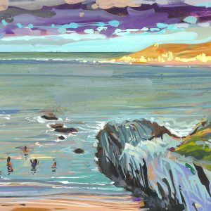 Colourful coastal landscape painting by Woolacombe artist Steve PP of January sea swimmers bathing at Barricane Beach North devon.