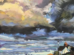 early morning sunrise from the Esplanade Woolacombe, painted in gouache by Devon landscape artist Steve PP.