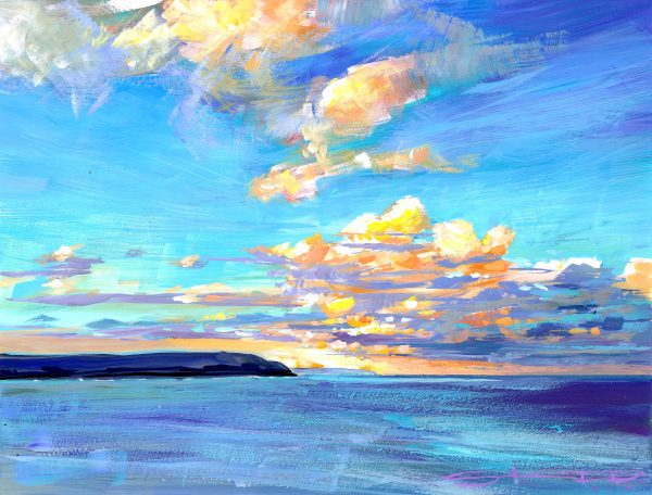 After the storm is a colourful coastal landscape painting in gouache made by Woolacombe impressionist painter Steve PP.