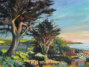 colourful gouache landscape painting by contemporary landscape painter Steve PP.