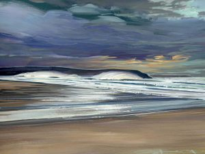 stormy offshore day on woolacombe sands painted by Devon contemporary landscape artist Steve PP.