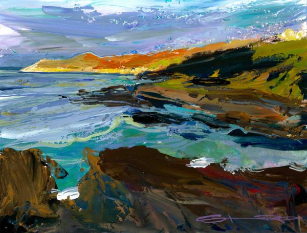 early morning light bathes morte point in warmth. colourful woolacombe art from woolacombe landscape artist Steve PP