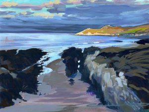 Beautiful early morning sunlight on Morte point from Barricane beach, Woolacombe gouache painting by North devon landscape artist Steve Pleydell-Pearce