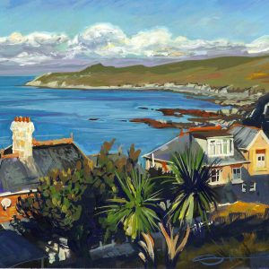 Warm sunlit morning light across Morte Bay , woolacombe and Morte Point. Gouache painting by North devon and Woolacombe landscape artist Steve PP.