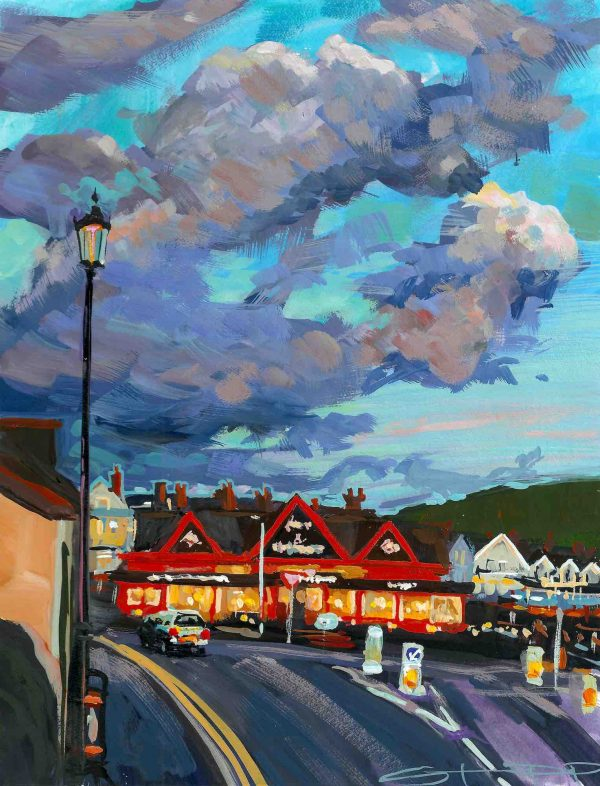 Early Spring sunset lighting up Woolacombe's Red Barn. Gouache landscape painting by Woolacombe landscape painter Steve PP.