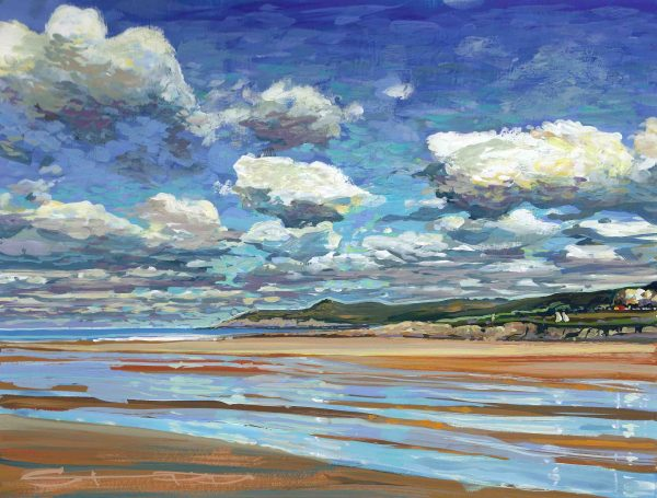 shifting sands an original gouache painting of a blustery cold sunny day on woolacombe sands by Devon landscape artist Steve PP.