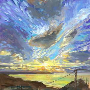 Stunning winter sky as the suns ets over Woolacombe beach painted in gouacheby North devon landscape artist Steve PP.