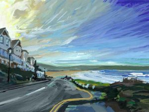 Early morning sunrise painting by Woolacombe landscape artist Steve PP.