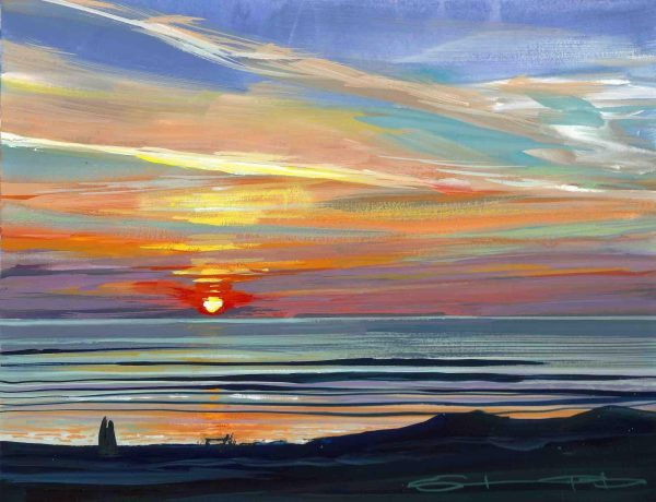High pressure over Lundy gouache painting by Woolacombe artist Steve PP.