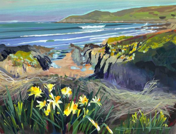 Barricane Spring daffodils colourful gouache landscape painting by Woolacombe plein air artist Steve PP.