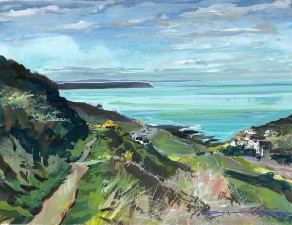 walking down the valley from Twitchen holiday park to Woolacombe beach. Gouache landscape painting by contemporary coastal impressionist painter Steve PP.