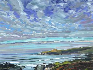 colourful gouache landscape painting by contemporary Devon landscape painter Steve PP.