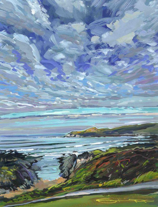 colourful gouache landscape painting by contemporary Devon landscape painter Steve PP.