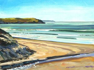 sunshine filled colourful Woolacombe gouache landscape painting by contemporary landscape painter Steve PP.