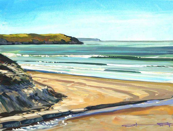 sunshine filled colourful Woolacombe gouache landscape painting by contemporary landscape painter Steve PP.