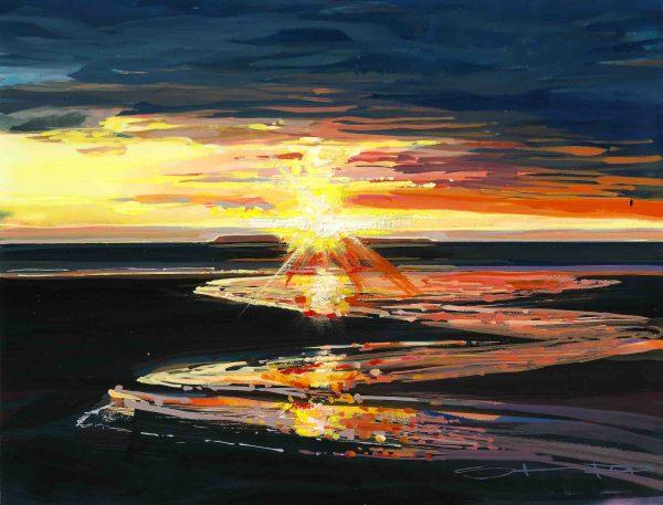 colourful sunset gouache landscape painting by contemporary landscape painter Steve PP.
