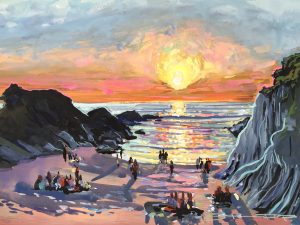 colourful painting of Barricane Beach curry nights by Woolacombe artist Steve PP.