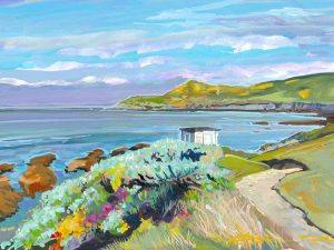 Spring morning Barricane beach colourful gouache landscape painting by contemporary landscape painter Steve PP.