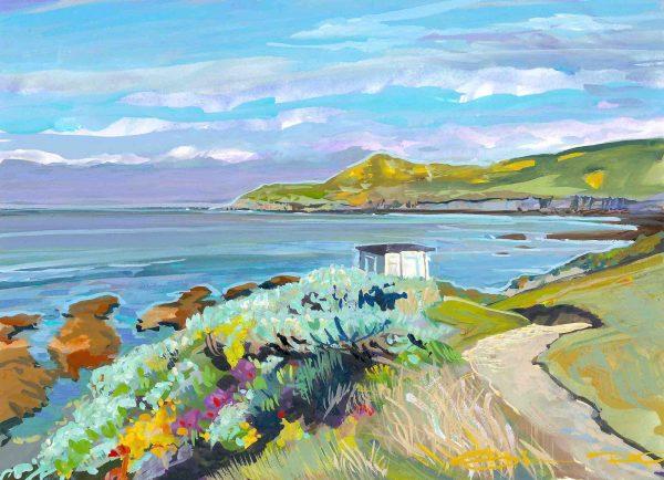 Spring morning Barricane beach colourful gouache landscape painting by contemporary landscape painter Steve PP.