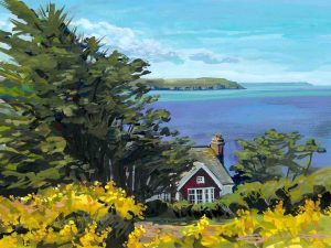 Woolacombe in the spring colourful gouache landscape painting by contemporary landscape painter Steve PP.