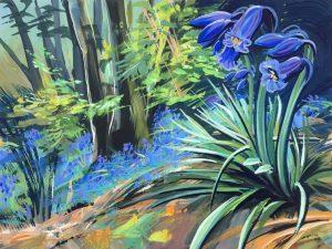 colourful gouache woodscape painting by contemporary landscape painter Steve PP.