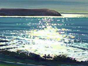 woolacombe bay colourful gouache landscape painting by contemporary landscape painter Steve PP.