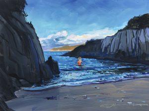 sea swimming on Barricane beach. colourful gouache landscape painting by contemporary landscape painter Steve PP.