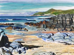Warm June on the beach at Woolacombe painted by landscape artist from Woolacombe who paints the beach every day Steve PP