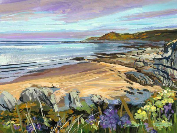 April Calm Woolacombe painting.Colourful gouache landscape painting by contemporary landscape painter Steve PP.