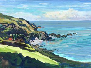 Lee Bay North Devon. Colourful gouache landscape painting by contemporary landscape painter Steve PP.