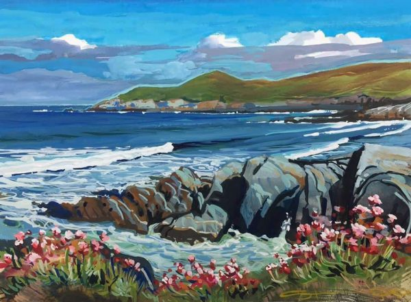May Sea Pinks. Colourful gouache landscape painting by contemporary landscape painter Steve PP.