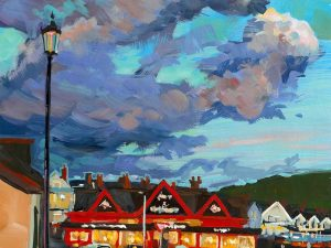 The Red Barn, Woolacombe. colourful gouache landscape painting by contemporary landscape painter Steve PP.