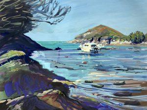 Watermouth harbour, colourful gouache landscape painting by contemporary landscape painter Steve PP.