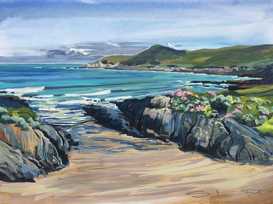 colourful gouache seascape landscape painting by contemporary landscape painter Steve PP.