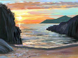summer solstice on Barricane beach painted by Woolacombe artist Steve PP. sunset over the atlantic ocean