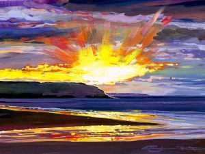 Breaking through the grey. Woolacombe.colourful gouache landscape painting by contemporary landscape painter Steve PP.