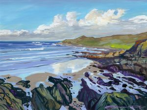 Into the light. Woolacombe. colourful gouache landscape painting by contemporary landscape painter Steve PP.