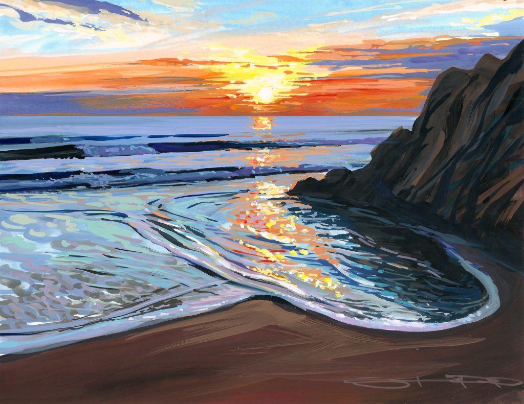 June evening on Woolacombe beach colourful gouache landscape painting by contemporary landscape painter Steve PP.