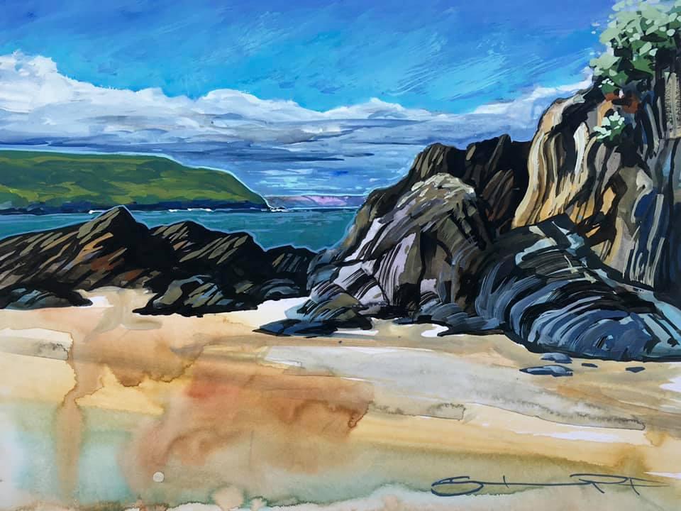 Mid morning moment colourful gouache landscape painting by contemporary landscape painter Steve PP.