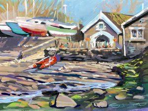 Watermouth cove harbour master. colourful gouache landscape painting by contemporary landscape painter Steve PP.
