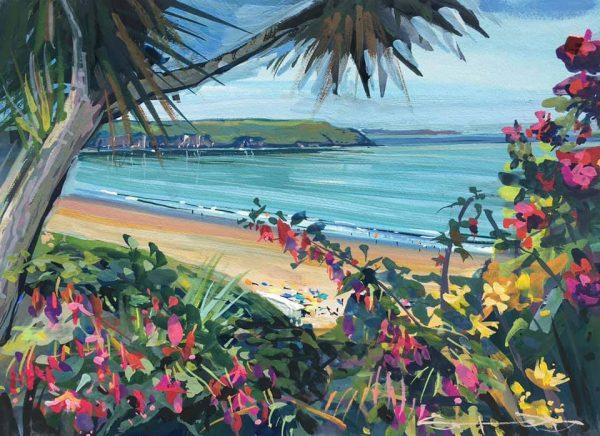 hot july day. colourful gouache landscape painting by contemporary landscape painter Steve PP.