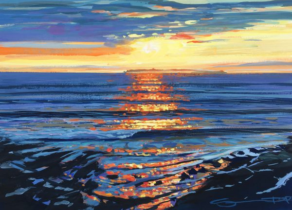 Lundy Shimmer colourful gouache landscape painting by contemporary landscape painter Steve PP.