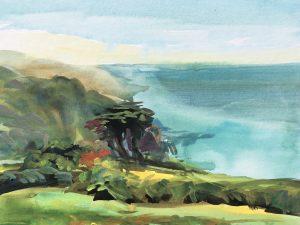 Spring haze, Lee bay colourful gouache landscape painting by contemporary landscape painter Steve PP.