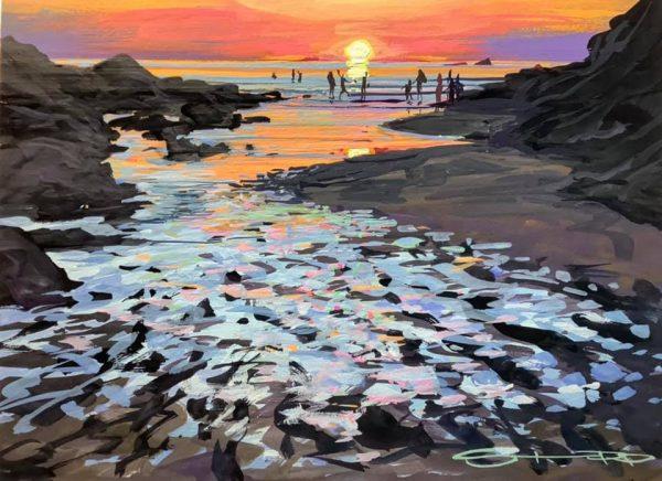Sundowners , colourful gouache landscape painting by contemporary landscape painter Steve PP.