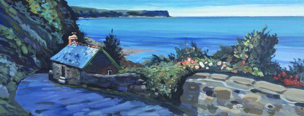 Artists cabin Bucks Mills Devon, c9lourful seaside acrylic painting by Woolacombe contemporary artist Steve PP.