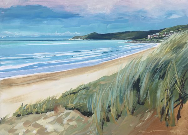 Early morning beach walk at Woolacombe Devon. Painting by Devon artist Steve PP.