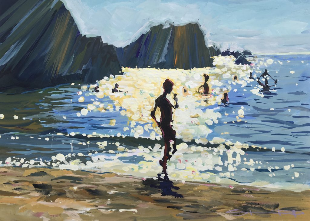 Colourful sunny day sparkle painting of Barricane beach by woolacombe artist Steve PP.