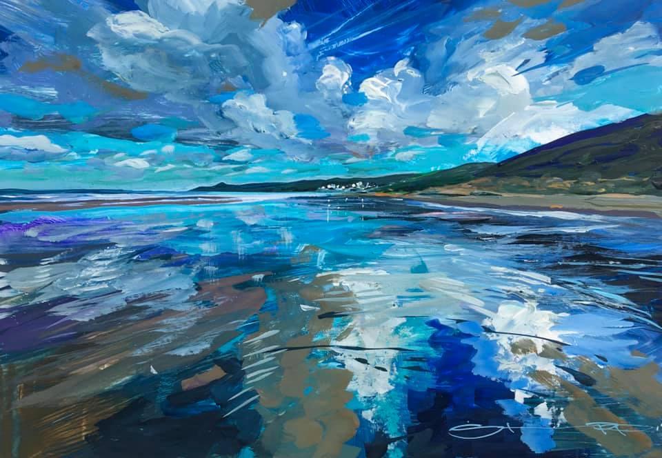 Beach painting. colourful gouache landscape painting by contemporary landscape painter Steve PP.